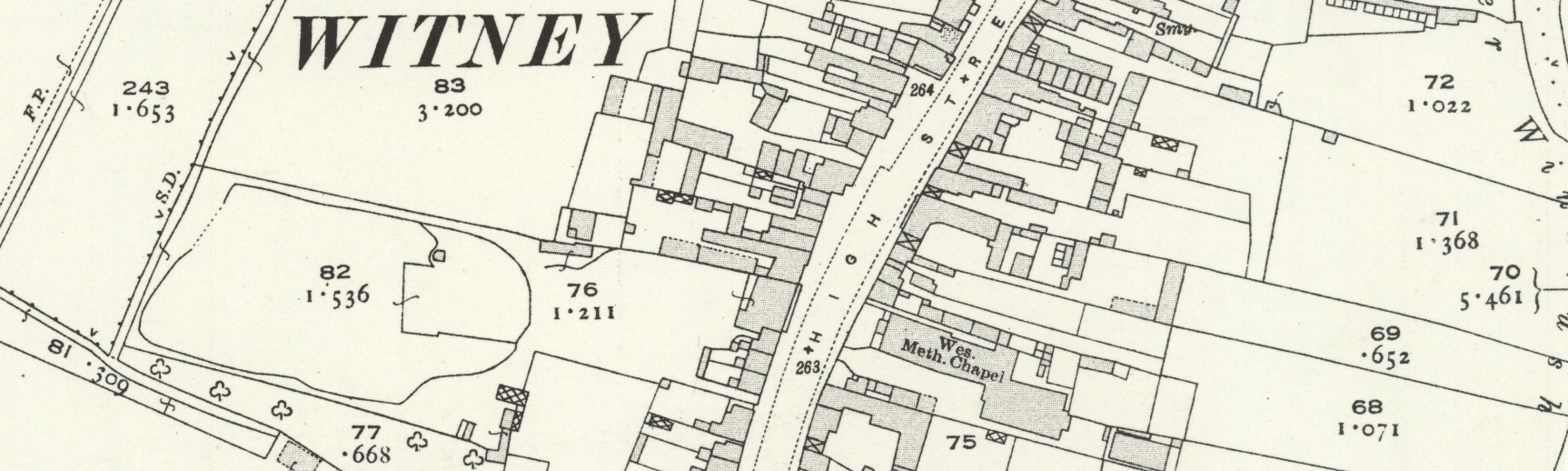 The High Street Witney in Witney c1919. No. 46 is the building north of the Wes. Meth. Chapel.