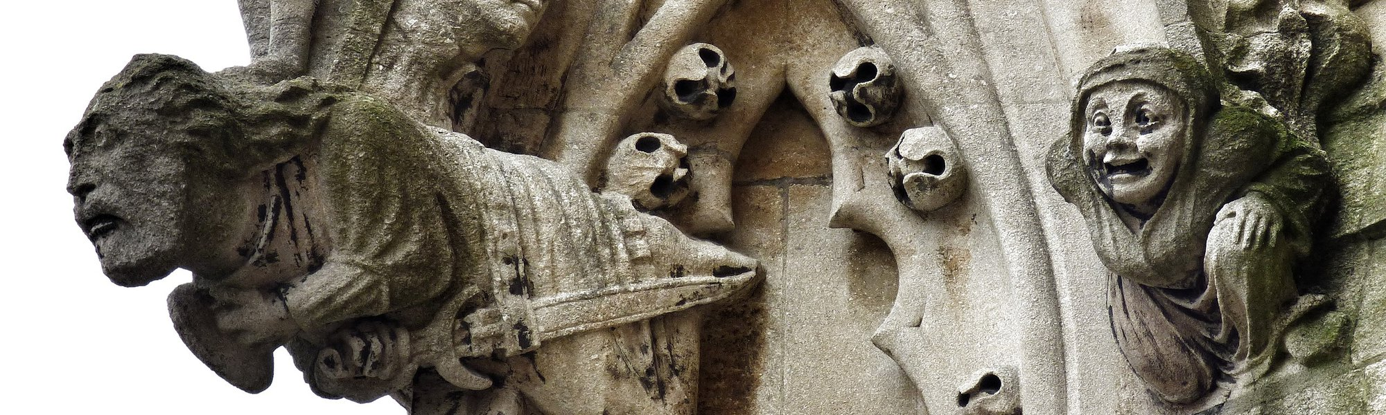 Gargoyles on the tower at the University Church of St. Mary the Virgin, Oxford