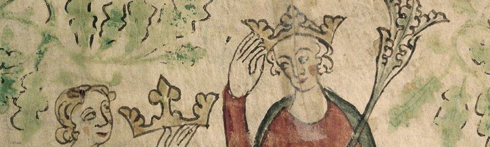 An illuminated detail from the 'Chronicle of England', showing Edward II of England receiving his crown