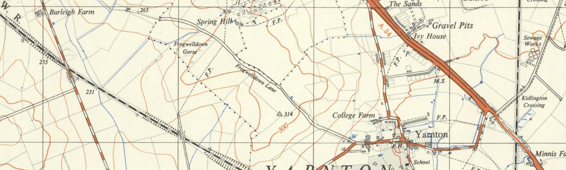 Map circa 1955, featuring Frogwelldown Lane