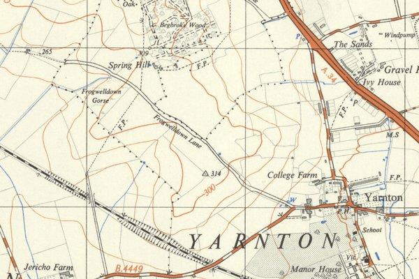 Map of Frogwelldown Lane, Yarnton