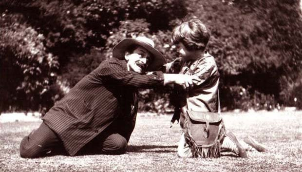 J.M.Barrie playing with Michael Llewelyn Davies