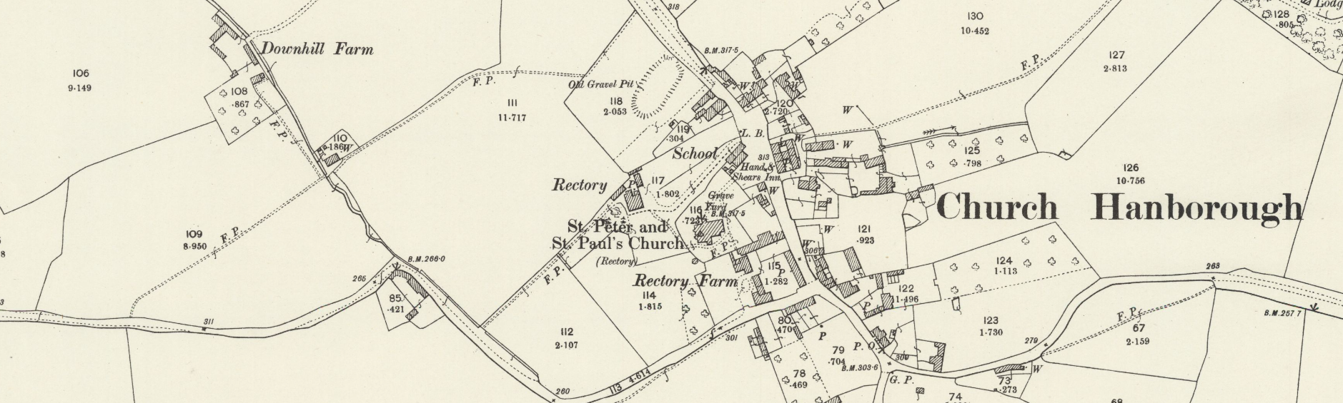 Map of Church Handborough, c1919