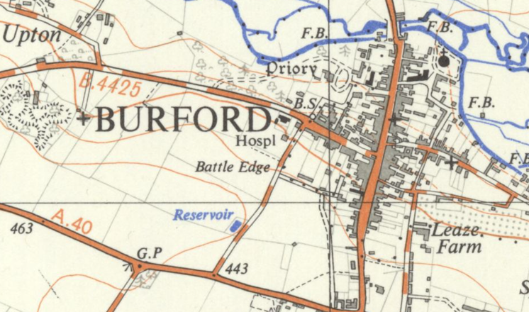 Map of Burford showing Battle Edge