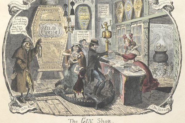 George Cruikshank's engraving of The Gin Shop (1829)