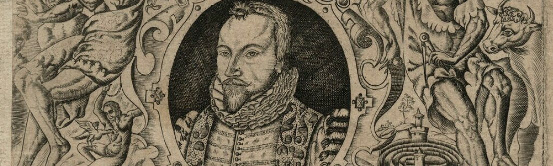 Self-portrait of Richard Haydock from the cover of 'Lomazzo's Artes of Curious Paintinge, Carvinge & Buildinge'