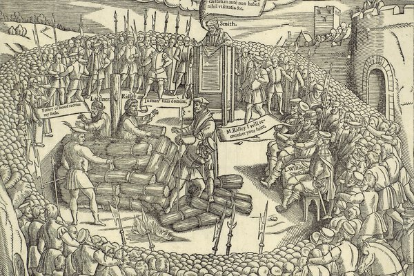 Hugh Latimer and Nicholas Ridley being burned at the stake