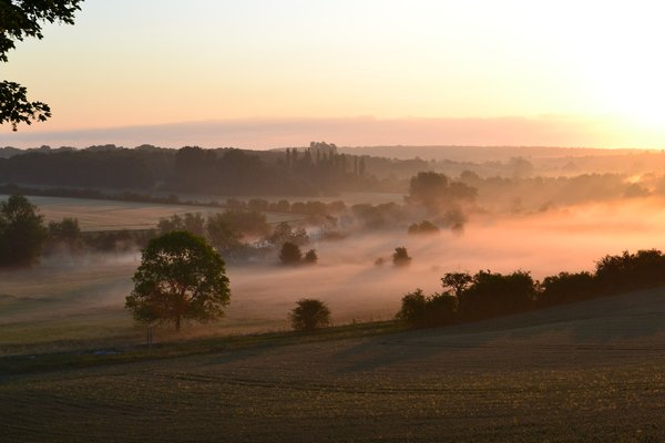 Mists in the Evenlode valley at Swinbrook.