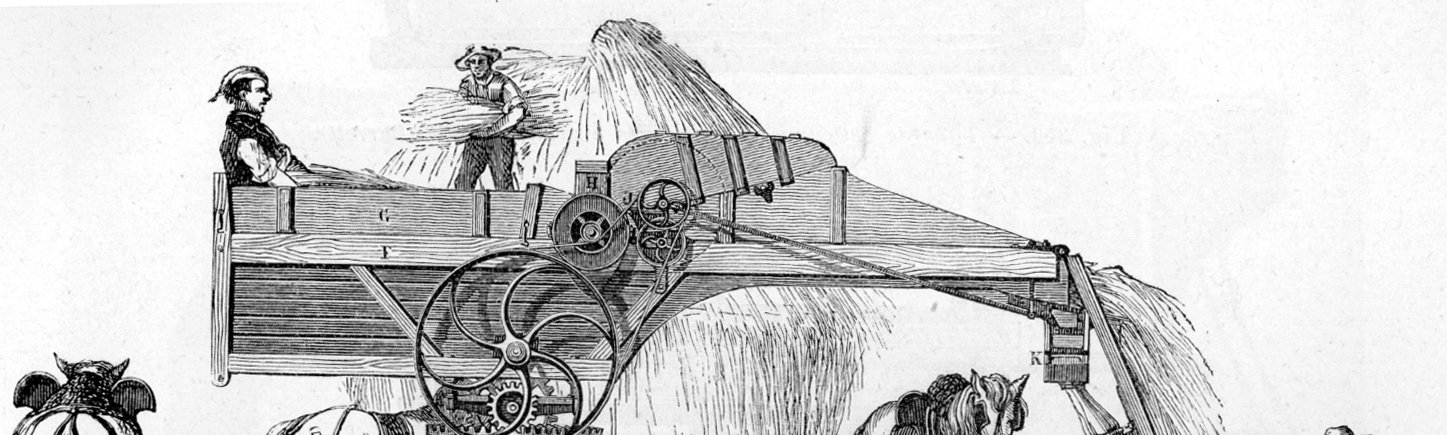 An illustration of the hated threshing machine, 1881.