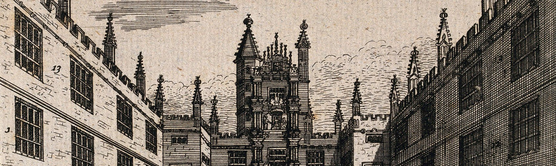 History line engraving of University College, Oxford