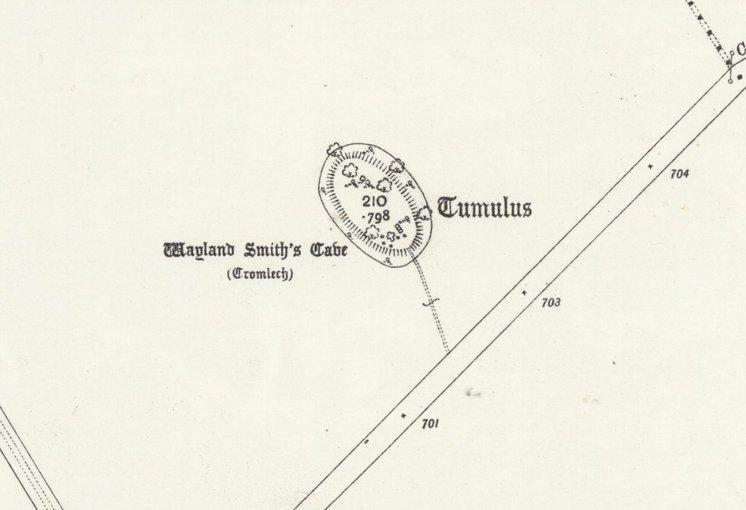 Map showing Wayland Smithy circa 1910
